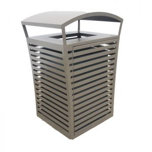 Square Covered Metal Trash Receptacle